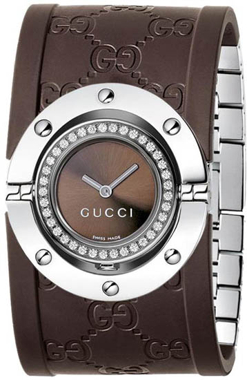 Gucci Series 112 Twirl Wide Rubber Bangle Style Brown Dial with Diamonds YA112428