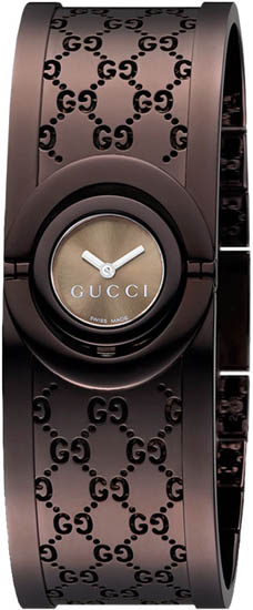 Gucci Twirl Quartz Brown Dial Bangle Style YA112532