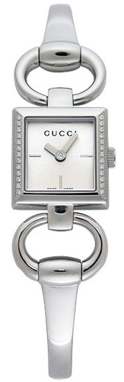 Gucci Tornabuoni Square 120 Series Stainless Steel Silver Dial Diamonds YA120505