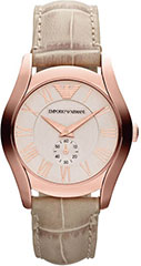 Armani AR1670 Ladies Watch Rose Gold Tone Stainless Steel Case Leathe>