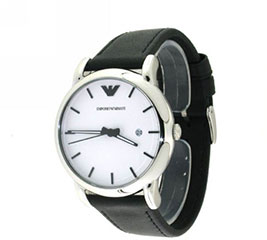Armani AR1694 Mens Watch Classic Stainless Steel Case Leather Strap W>