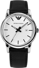 Armani AR1695 Ladies Watch Classic Stainless Steel Case Leather Strap>