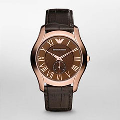Armani AR1705 Ladies Watch Rose Gold Tone Stainless Steel Case Leathe>