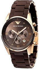 Armani AR5890 Mens Watch Stainless Steel Case Chronograph Brown Dial