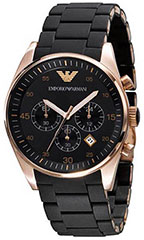 Armani AR5905 Mens Watch Stainless Steel Case Chronograph Black Dial