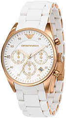 Armani AR5920 Ladies Watch Rose Gold Tone Stainless Steel Case Chrono>