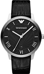 Armani AR1611 Mens Watch Classic Retro Stainless Steel Case Leather S>