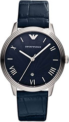 Armani AR1651 Mens Watch Classic Retro Stainless Steel Case Leather S>