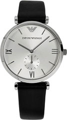 Armani AR1674 Mens Watch Classic Retro Stainless Steel Case Leather S>