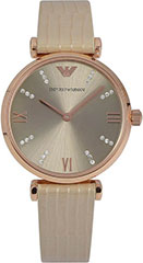 Armani AR1681 Ladies Watch Retro Rose Gold Tone Stainless Steel Case >