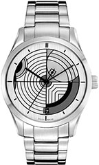 Bulova 96A130 Mens Watch Frank Lloyd Wright Hoffman House Silver dial
