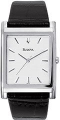 Bulova 96A23 Mens Watch Stainless Steel Dress Silver Dial Leather Str>