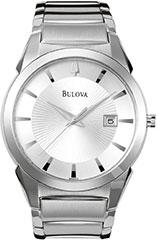 Bulova 96B015 Mens Watch Stainless Steel Link Bracelet Silver Tone Di>