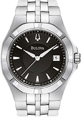 Bulova 96B123 Mens Watch Stainless Steel Black Dial Link Bracelet Qua>