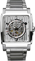 Bulova 96A107 Mens Watch Stainless Steel Automatic Silver Tone Skelet>