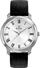 Bulova 96A133 Mens Watch Stainless Steel Case Silver Dial Quartz Blac>