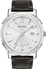 Bulova 96B120 Mens Watch Stainless Steel Dress Silver Tone Dial Textu>