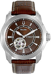 Bulova 96A108 Mens Watch Automatic Brown Dial Skeleton Display Brown >