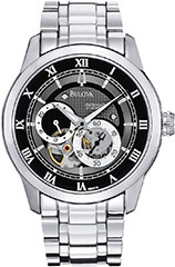 Bulova 96A119 Mens Watch Stainless Steel Automatic Black Skeleton Dia>